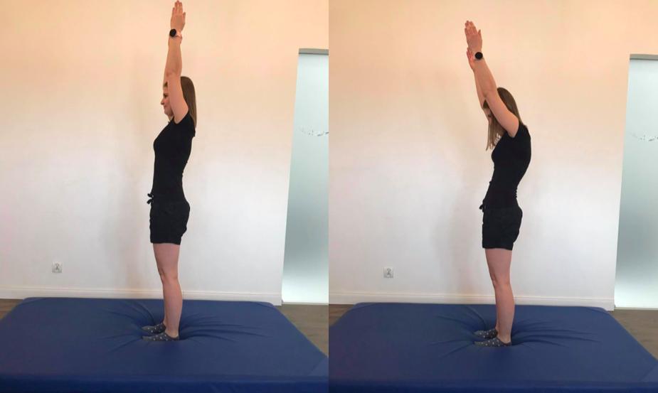 Porównanie zakresów ruchu zgięcia stawów ramiennych z prostymi i z zaokrąglonymi plecami.
