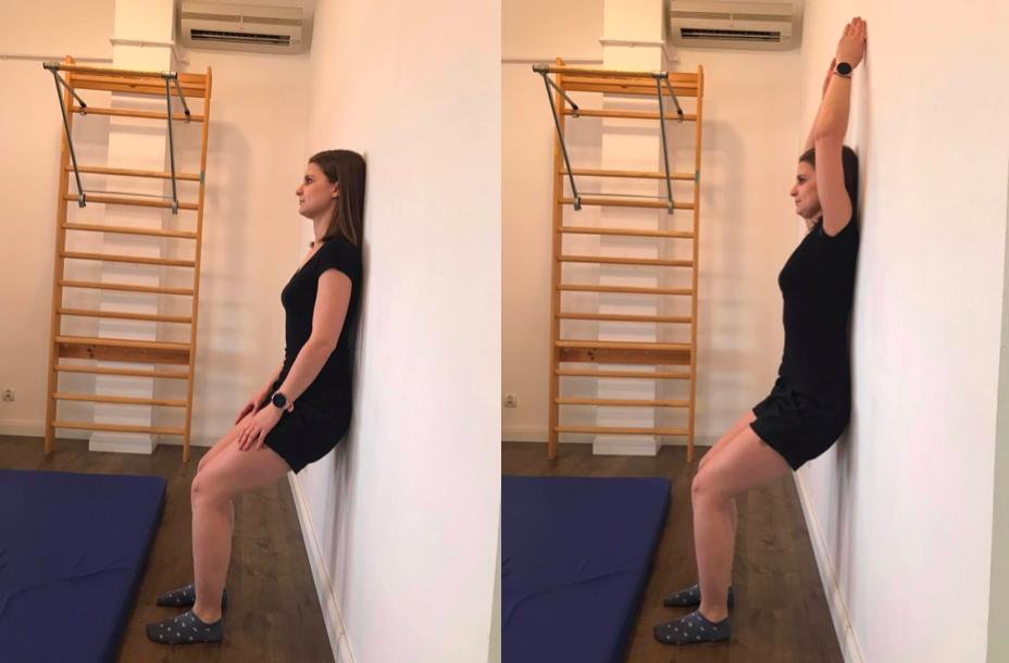 Mobilizacja odcinka piersiowego poprzez zgięcie w stawach ramiennych.