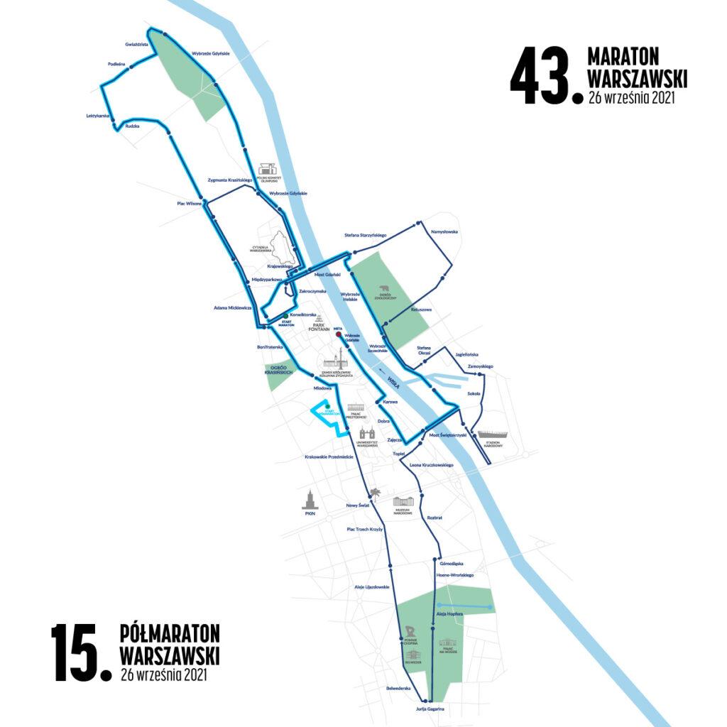Trasy 43. Maratonu Warszawskiego i 15. Półmaratonu Warszawskiego będą miały wspólną metę.