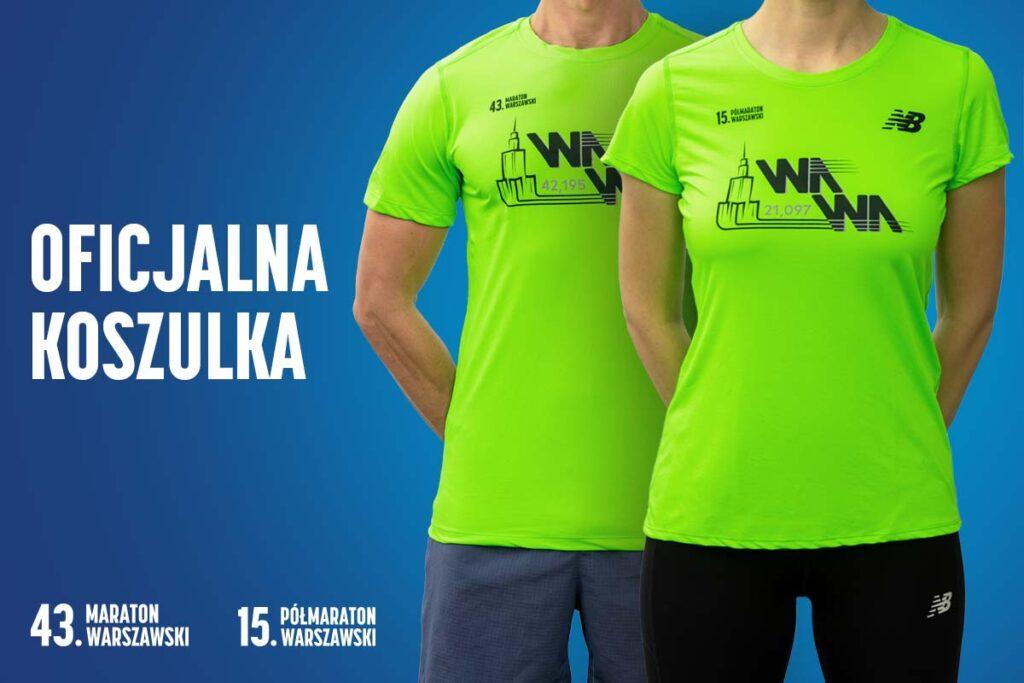 Oficjalne koszulki 43. Maratonu Warszawskiego i 15. Półmaratonu Warszawskiego.
