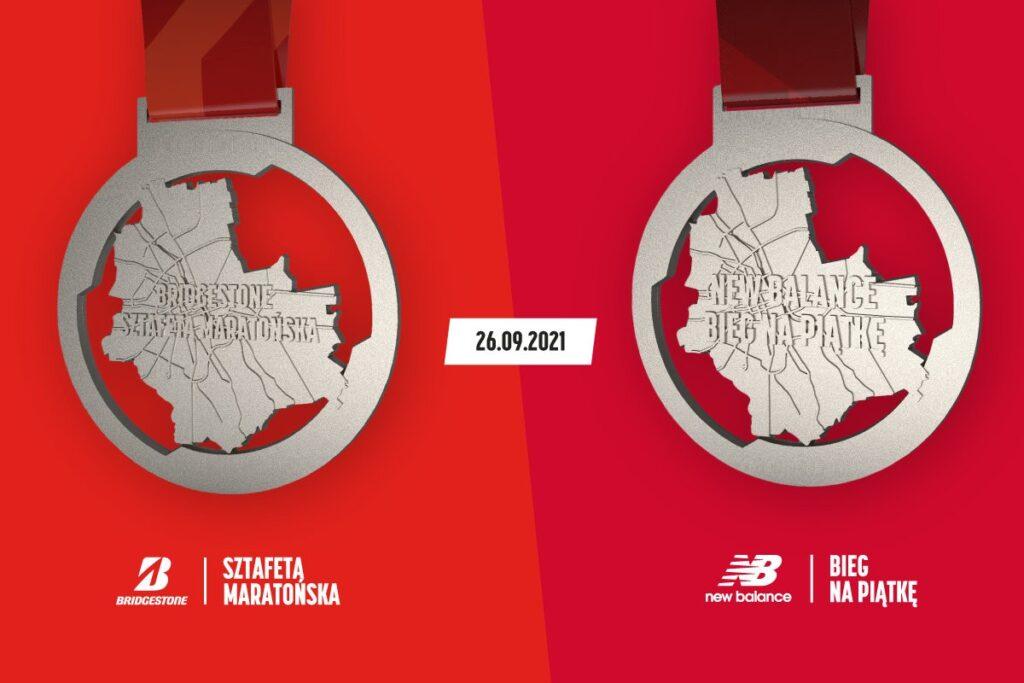 Medale Bridgestone Sztafety Maratońskiej i New Balance Biegu na Piątkę.